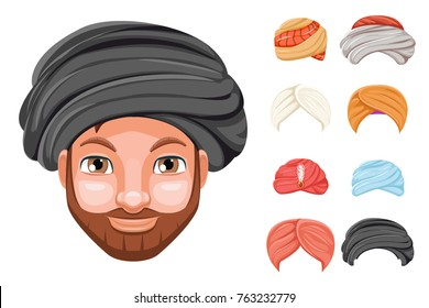 Photo decoration turban fashion headdress arab indian culture sikh sultan bedouin man beautiful head hat isolated icons set cartoon design video chat effects portrait mobile phone vector illustration.