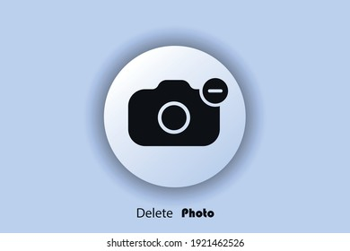 Photo delete icon, flat, minus camera icon, user interface icon, picture delete button. Neomorphism. Vector EPS10