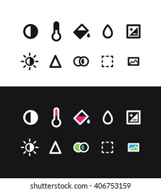 Photo edit icons. Photo editing application interface icons.