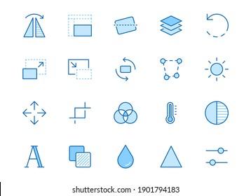 Photo edit line icon set. Flip, crop image, color filter, adjust effects, contrast minimal vector illustration. Simple outline signs for photography application. Blue color, Editable Stroke.