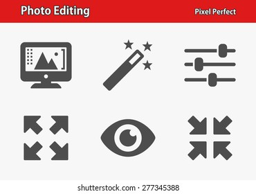 Photo Editing Icons. Professional, pixel perfect icons optimized for both large and small resolutions. EPS 8 format. Designed at 32 x 32 pixels.