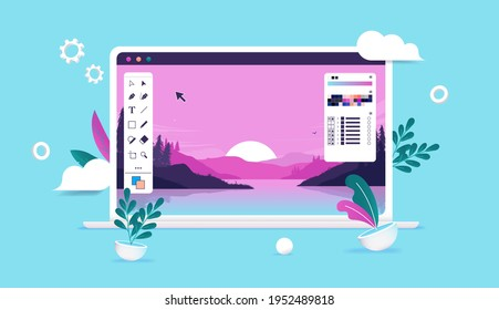 Photo editing illustration - Computer with photo software, nature image and user interface and tool bars. Vector illustration.