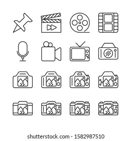 Photo Editing line icons set vector illustration. gallery, adjustments, camera, and more. Pixel perfect. Editable Stroke