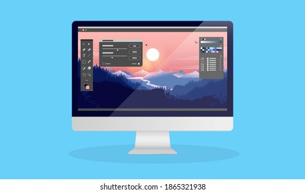 Photo editing on desktop computer - Photo editor software with user interface and beautiful landscape image. Vector illustration.