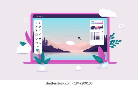 Photo editing on laptop computer - Photo editor software with user interface and beautiful landscape image in editable 3d vector illustration.