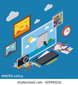 Photo editing, production, montage, retouch flat isometric vector concept illustration