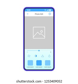 Photo editing smartphone app vector template. Mobile application interface blue design layout. Photo edition filter effect screen. Flat UI. Phone display with social media post editor