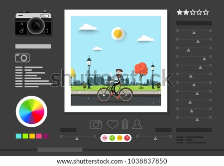 Photo Editing Software Screen. Abstract Vector Application for Photographers to Edit Pictures.