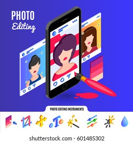 Photo editing tools for social media networks.