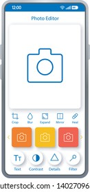 Photo editor smartphone interface template. Mobile app page layout.Content maker. Social media post creator. Camera screen. Flat UI for photo editing application. Photography enhancer phone display
