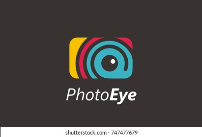 Photo eye digital color logo. Visual media related logo, symbol, icon or sign. Vector of eye. Photo eye logo design. Media sign. Visual symbol.