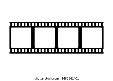 Photo film strip frame, video tape, black isolated on white background, vector illustration.