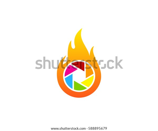 Photo Fire Logo Design Element