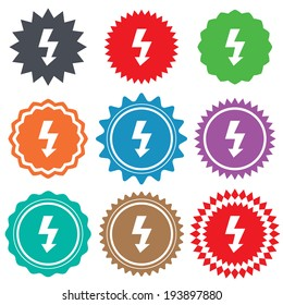 Photo flash sign icon. Lightning symbol. Stars stickers. Certificate emblem labels. Vector