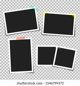 Photo frame with adhesive tape of different colors and paper clip. Photo realistic vector makeup of different size on transparent background.