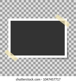 Photo Frame with adhesive tape stickers. Photo realistic vector Mockup on transparent background. Vintage paper Photo Frame Template for your photos or project. Retro style design element