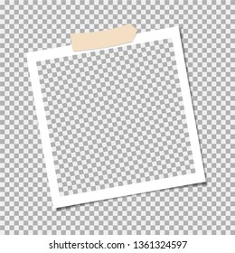 Photo frame with adhesive tape, sticky tape. Template. Vector illustration