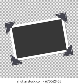 Photo frame with angle, corner on isolate background. Template, blank for your trendy photo
