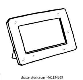 photo frame / cartoon vector and illustration, black and white, hand drawn, sketch style, isolated on white background.