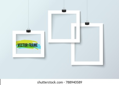 Photo frame collection realistic vector paper