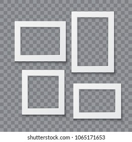 Photo frame collection vector realistic illustration isolated on transparent background