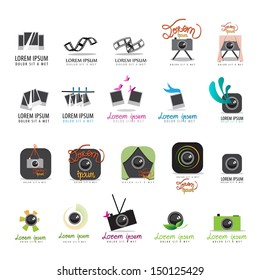 Photo Frame, Film Strip And Camera Icons Set - Isolated On White Background - Vector Illustration, Graphic Design Editable For Your Design.