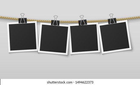 Photo frame hanging on rope. Blank photo paper frames, retro picture exhibition with and clothespins. Vector image clean decoration vertical wall card album