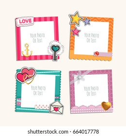 Photo frame with heart, love and romantic. Photo album template for couples, kid, girl, family or memories. Scrapbook concept, vector illustration.