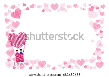 Photo Frame Hearts Lovers Couple Balloon Stock Vector (Royalty Free ...