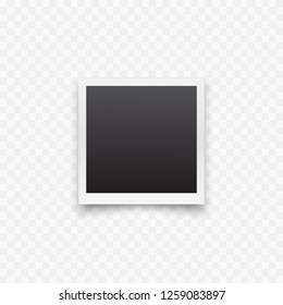 Photo frame icon. Realistic old photo isolated on transparency background. Vector