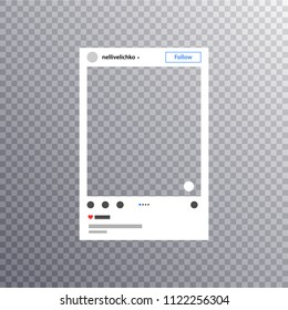 Photo frame inspired by instagram for friends internet sharing. Social media Photo frame Post in a social network Mock up instagram on empty background. Vector template EPS10