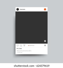 Photo frame inspired by instagram for friends internet sharing. Vector template