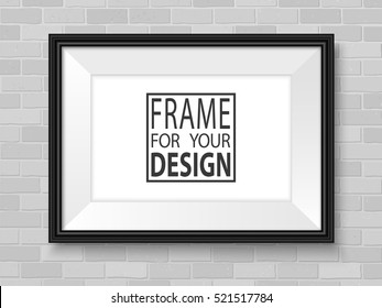 Photo frame mock up. Horizontal frame on brick wall. Vector template ready for presentation design. Black framing for drawing, painting or photo.