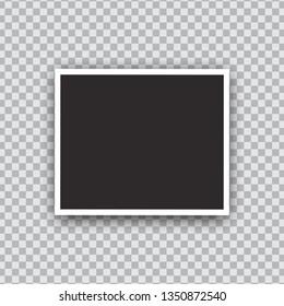 Photo frame mockup design. Photo frame isolated on transparent background. Vector illustration.