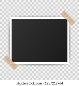 Photo frame mockup design. Realistic photograph with blank space for your image.  Vector stock illustration.