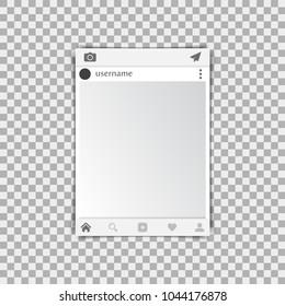 Photo frame on a transparent background. Vector illustration.