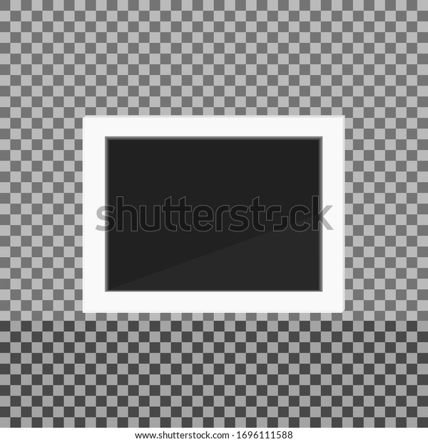 Photo frame on transparent background, vector graphics.