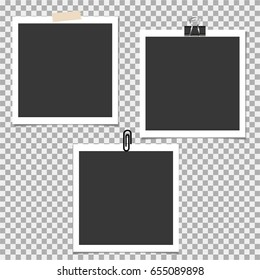 Photo frame with pin, clip and with sticky tape on grey background. Vector template, blank