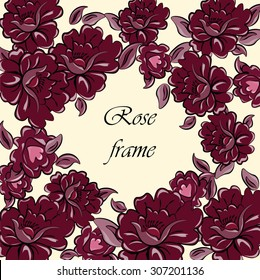 Photo frame with red Marsala roses background. Vector