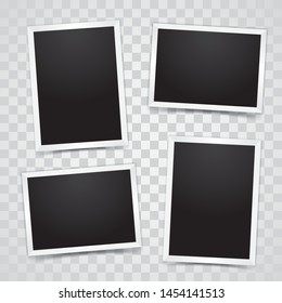 Photo Frame Set Mockup Vector With Transparent Background