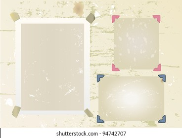 photo frame set, mounted with photo corners and adhesive tape, vector