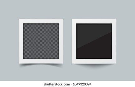 Photo frame set. Realistic vector paper square photos inspired by polaroid