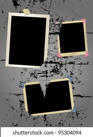photo frame set,torn, photo corners and adhesive tape, vector