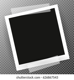 Photo Frame with shadow on Adhesive Sticky Tape Scotch, on isolate background, vector template for your stylish photos or images