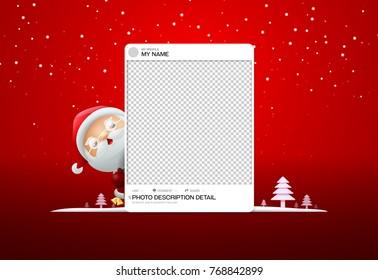 photo frame social merry christmas with santa clause vector illustration