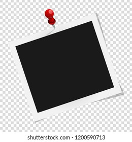 photo frame. Square frame template on red pin with shadows isolated on transparent background. Vector illustration