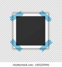 photo frame. Square frame template with shadows isolated on transparent background. Vector illustration