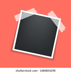 Photo frame. Square frame template with shadows isolated on living coral background. Vector illustration