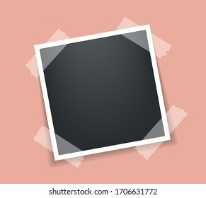 Photo frame. Square frame template with shadows isolated on peach background. Vector illustration