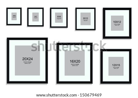 Photo Frame Standard Picture Size Area Stock Vector (Royalty Free ...